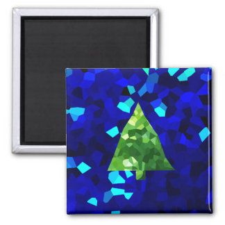 Blue Modern Stained Glass Holiday Christmas Tree Magnet