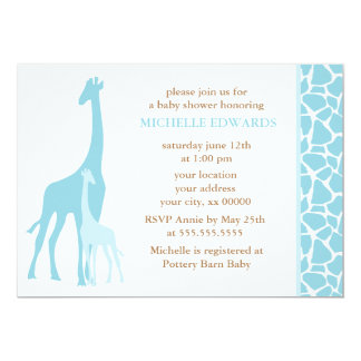 Blue Mom and Baby Giraffe Baby Shower 13 Cm X 18 Cm Invitation Card