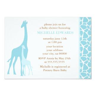 Blue Mom and Baby Giraffe Baby Shower 13 Cm X 18 Cm Invitation Card