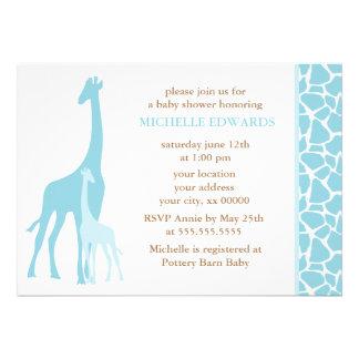 Blue Mom and Baby Giraffe Baby Shower Custom Invitation