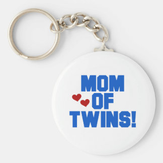 Blue Mom of Twins Basic Round Button Key Ring