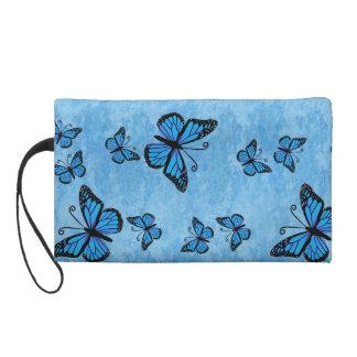 Blue Monarch Butterflies Wristlette Bag Wristlet Purses