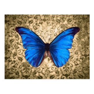 Blue Monarch butterfly damask Vintage art Postcards