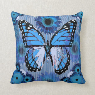 BLUE MONARCH BUTTERFLY FLORAL ABSTRACT ART CUSHION