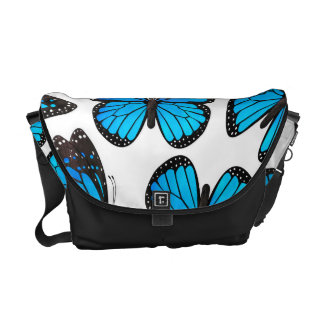 Blue Monarch Butterfly Pattern Courier Bag