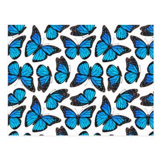 Blue Monarch Butterfly Pattern Postcard