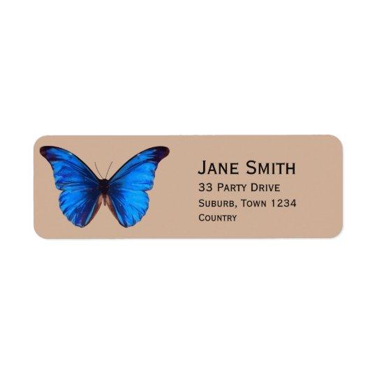 Blue Monarch butterfly stylish Return Address Label