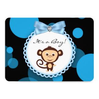 Blue Monkey Baby Shower 11 Cm X 16 Cm Invitation Card