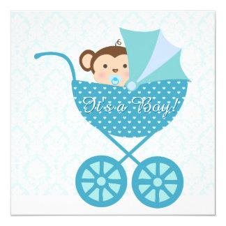 Blue Monkey Baby Shower 13 Cm X 13 Cm Square Invitation Card