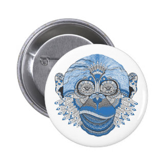 Blue Monkey Face with Pattern and Feathers 6 Cm Round Badge