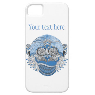 Blue Monkey Face with Pattern and Feathers Case For The iPhone 5