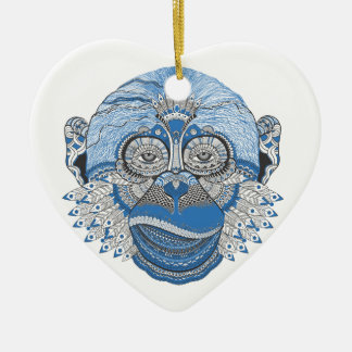 Blue Monkey Face with Pattern and Feathers Ceramic Heart Decoration