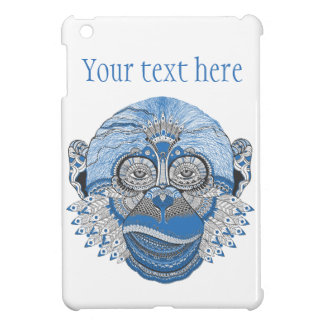 Blue Monkey Face with Pattern and Feathers iPad Mini Case