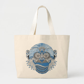Blue Monkey Face with Pattern and Feathers Jumbo Tote Bag