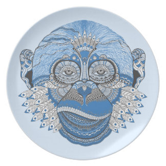 Blue Monkey Face with Pattern and Feathers Party Plate