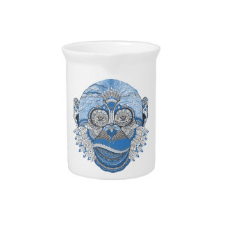 Blue Monkey Face with Pattern and Feathers Pitchers