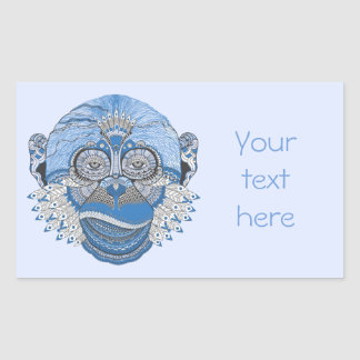Blue Monkey Face with Pattern and Feathers Rectangular Sticker