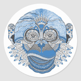 Blue Monkey Face with Pattern and Feathers Round Sticker
