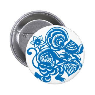 Blue Monkey Paper Cutting 6 Cm Round Badge