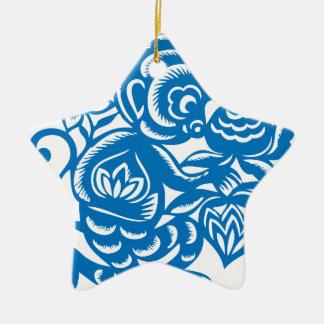 Blue Monkey Paper Cutting Ceramic Star Decoration