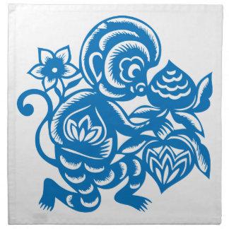 Blue Monkey Paper Cutting Cloth Napkins