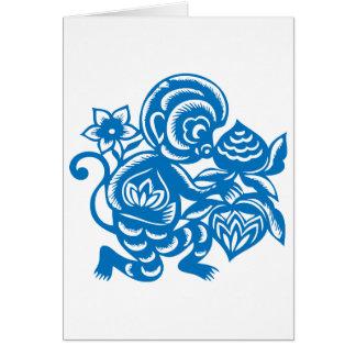 Blue Monkey Paper Cutting Greeting Card