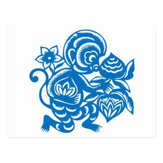 Blue Monkey Paper Cutting Postcard