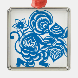 Blue Monkey Paper Cutting Silver-Colored Square Decoration