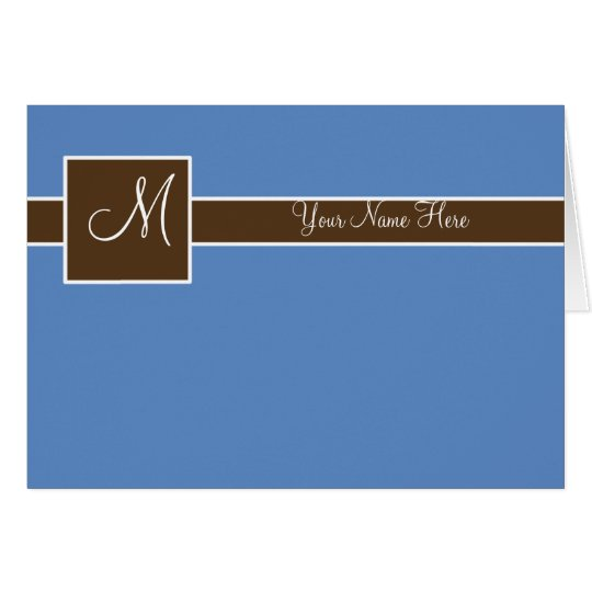 Blue Monogram Card