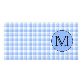 Blue Monogram Check Pattern. Custom Letter. Photo Card Template
