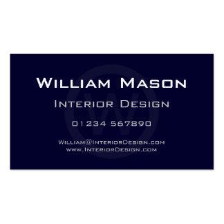 Blue Monogram Circle - Professional Business Card