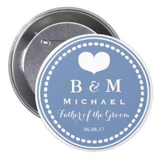 Blue Monogram - Father of the Groom Wedding Button
