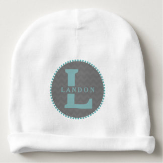 Blue Monogram + Gray Chevron Baby Beanie