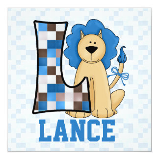 "Blue Monogram ""L"" Kid's Birthday Party Invitation 5.25"" Square Invitation Card"