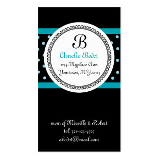 blue MONOGRAM mommy calling card Business Cards