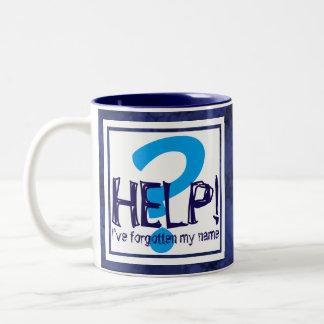 Blue Monogram Parody Two-Tone Coffee Mug