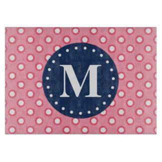 Blue Monogram Pink Polka Dots Pattern Cutting Board