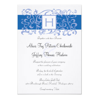 Blue Monogram Vine Wedding Invitation