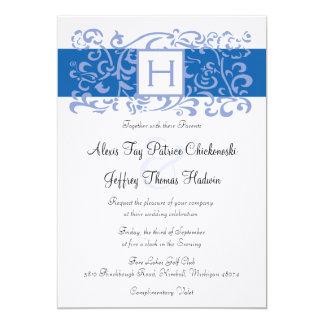 Blue Monogram Vine Wedding Invitation