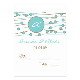 Blue Monogram Wedding Table Seating Cards Business Card