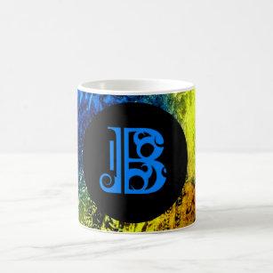 Blue Monogramed B on Gold, Blue and Black Coffee Mug