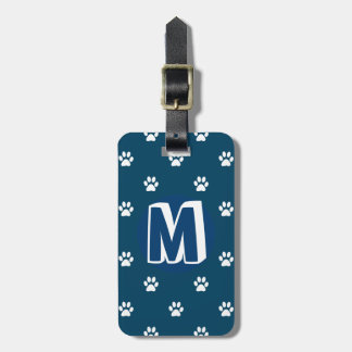 Blue Monogrammed Pet Luggage Tag