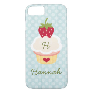 Blue Monogrammed Strawberry Cupcake iPhone 7 Case
