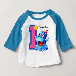 Blue Monster 1st Birthday Custom Baby T-Shirt