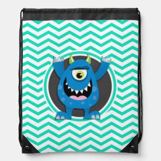 Blue Monster; Aqua Green Chevron Drawstring Bag