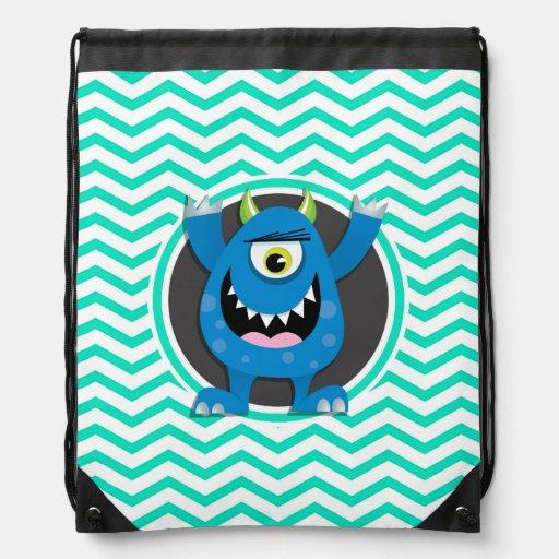 Blue Monster; Aqua Green Chevron Cinch Bag