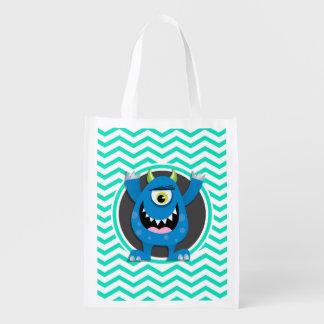 Blue Monster; Aqua Green Chevron Grocery Bags