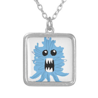 Blue Monster Baby Shirt Silver Plated Necklace