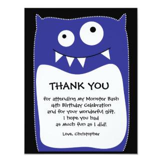 Blue Monster Bash Thank You Card (Flat) 11 Cm X 14 Cm Invitation Card