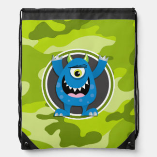 Blue Monster; bright green camo, camouflage Drawstring Bag
